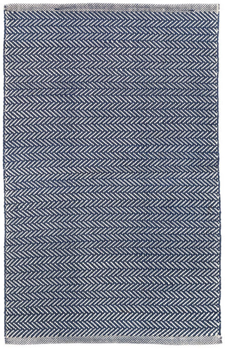 Dash and Albert Herringbone Navy/Ivory Indoor/Outdoor Rug - Lavender Fields