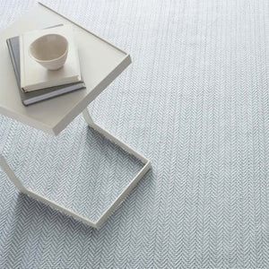 Dash and Albert Herringbone Light Blue/Ivory Indoor/Outdoor Rug