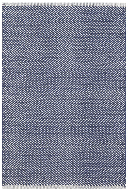 Dash and Albert Herringbone Indigo Woven Cotton Rug - Lavender Fields