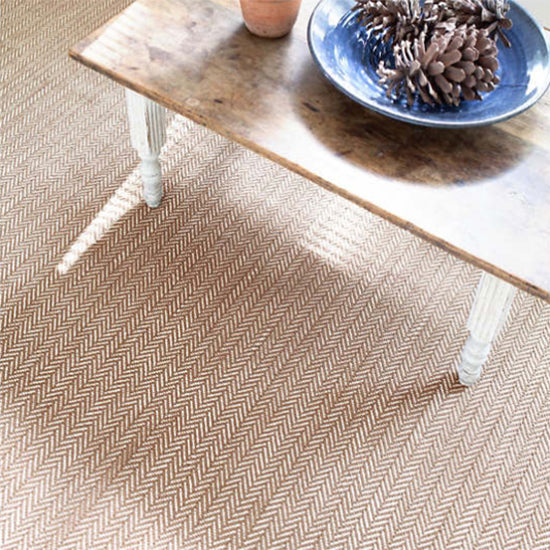 Dash and Albert Herringbone Stone Woven Cotton Rug - Lavender Fields