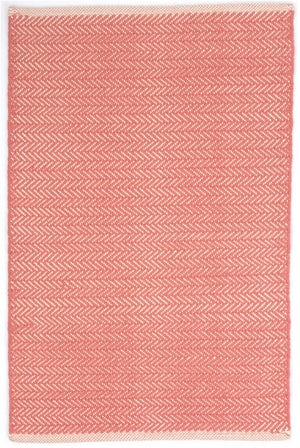 Dash and Albert Herringbone Coral Woven Cotton Rug - Lavender Fields