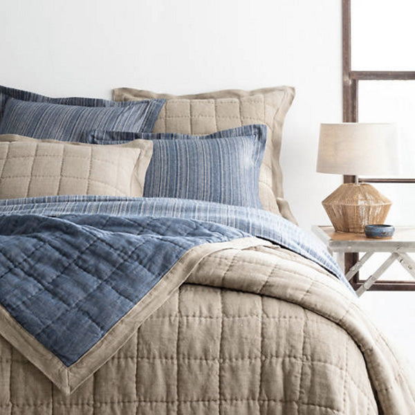 Pine Cone Hill Holden Linen Natural/Denim Quilted Sham - Lavender Fields