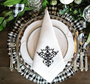 Black Checkered Round Placemat with Ruffle - Set of 4 - Lavender Fields