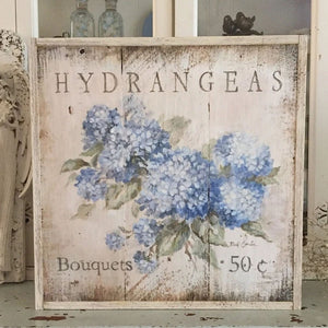 """Hydrangeas 50 Cents"" on Wood by Debi Coules - Lavender Fields"