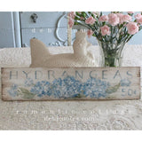 """Hydrangeas Sign"" on Wood by Debi Coules - Lavender Fields"