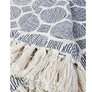 Pom Pom at Home Ian Ivory/Navy Oversized Throw - Lavender Fields