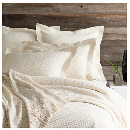 Pine Cone Hill Interlaken Ivory Matelasse Coverlet - Lavender Fields