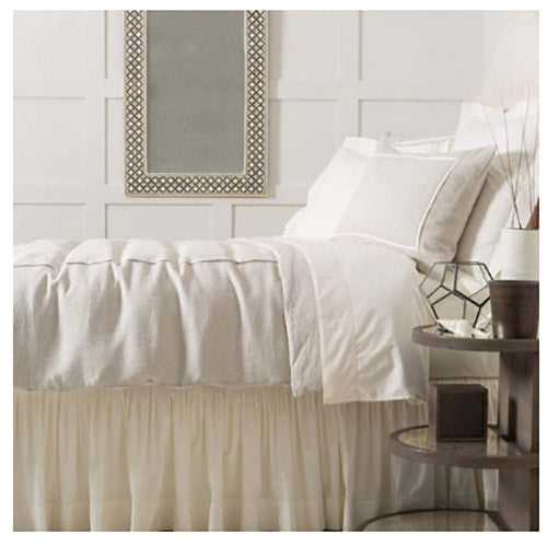 Pine Cone Hill Classic Hemstitch Ivory Bed Skirt - Lavender Fields