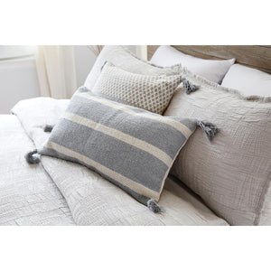 Pom Pom at Home Jane Handwoven Pillow with Insert - Blue Grey - Lavender Fields