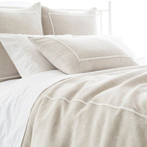 Pine Cone Hill Keaton Linen Natural Duvet Cover - Lavender Fields
