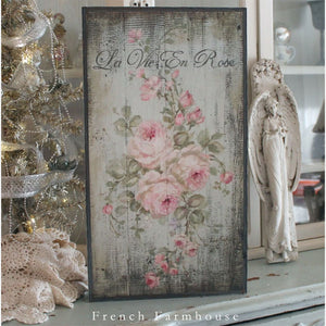 """La Vie En Rose"" Barnwood on Wood French Farmhouse by Debi Coules - Lavender Fields"