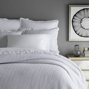 Pine Cone Hill Laundered Ruffle White Pillowcases (Pair) - Lavender Fields