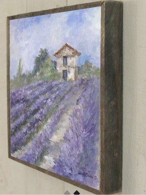 Barnwood Framed/Printed on Wood French Farmhouse Lavender Fields