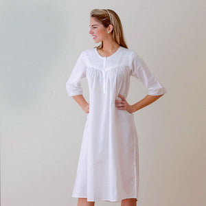 Jacaranda Living Liz White Cotton Nightgown, Smocking & Lace - Lavender Fields