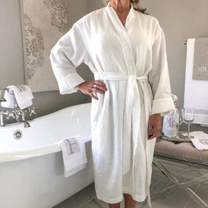 Margot Linen Robe - Lavender Fields