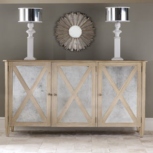 Modern History Mirrored Three Door Cabinet - Lavender Fields