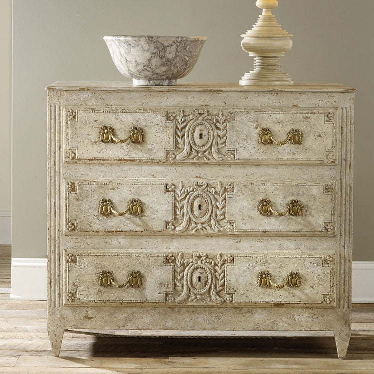 Modern History Carved and Painted Three Drawer Chest