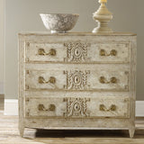 Modern History Carved and Painted Three Drawer Chest - Lavender Fields