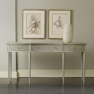 Modern History Ribbed Drawer Console in Antique Grey