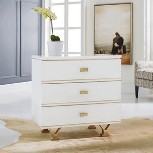 Modern History Linear Bedside Chest in White