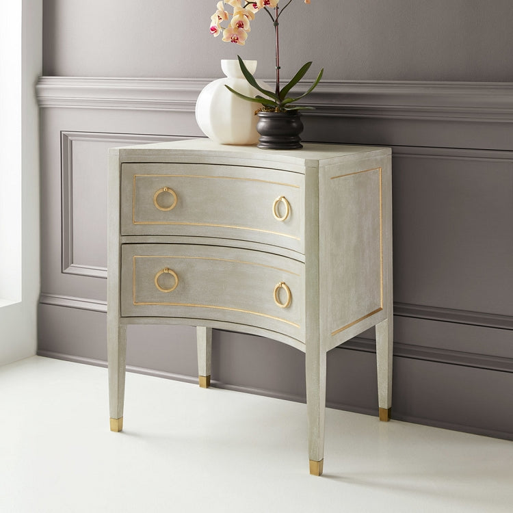 Modern History Gustavian Two Drawer Concave Nightstand - Lavender Fields
