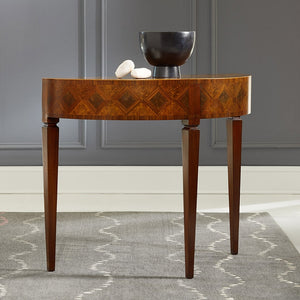 Modern History Marquetry Half Round Table