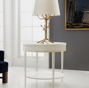 Modern History Round Scalloped End Table