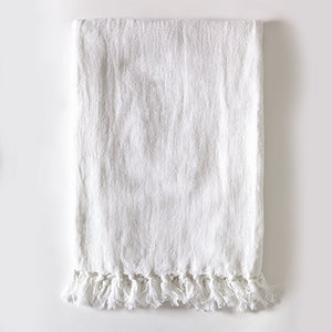 Pom Pom at Home Montauk Throw - Pure White - Lavender Fields