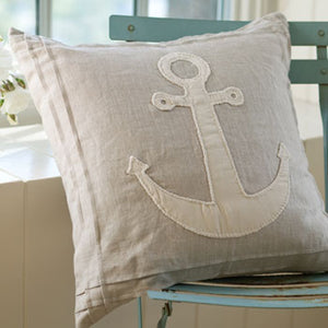 Taylor Linens Natural Anchor Porch Pillow - Lavender Fields