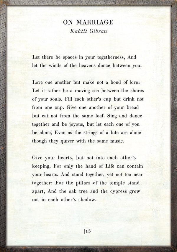 Sugarboo Designs On Marriage Poetry Collection Grey Wood Frame