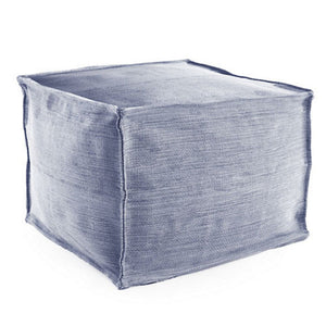 Mingled Denim Indoor/Outdoor Pouf - Lavender Fields
