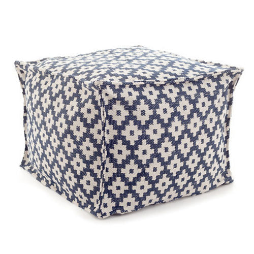 Fresh American Samode Navy/Ivory Indoor/Outdoor Pouf - Lavender Fields