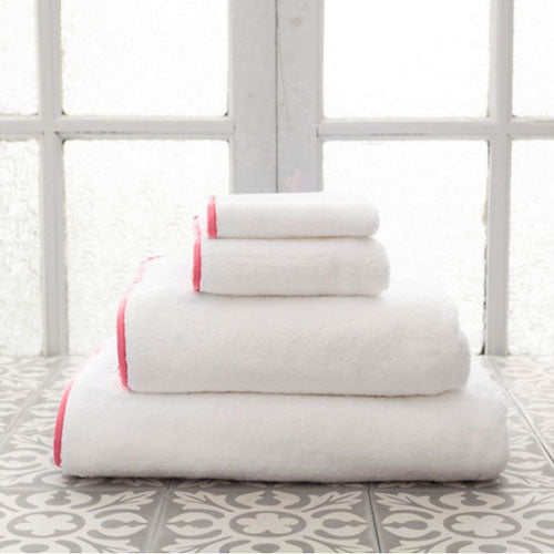 Pine Cone Hill Signature Banded White/Coral Towel - Lavender Fields