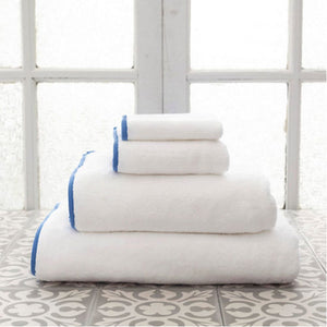 Pine Cone Hill Signature Banded White/French Blue Towel - Lavender Fields
