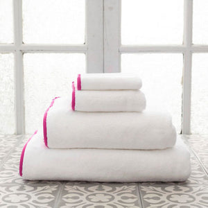 Pine Cone Hill Signature Banded White/Fuchsia Towel - Lavender Fields