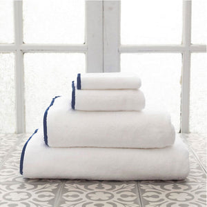 Pine Cone Hill Signature Banded White/Indigo Towel - Lavender Fields