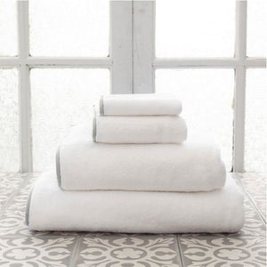 Pine Cone Hill Signature Banded White/Pearl Grey Towel - Lavender Fields