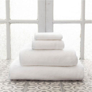 Pine Cone Hill Signature Banded White/White Towel - Lavender Fields