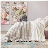 Pine Cone Hill Lush Linen Natural Puff - Lavender Fields