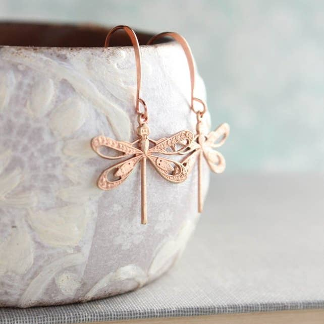 Dragonfly Earrings - Pink Copper - Lavender Fields