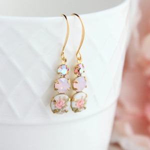 Pink Rose Jewel Drop Earrings - Lavender Fields