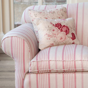 Kate Forman Pink Ticking Fabric - Lavender Fields