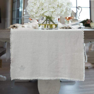 Provence Linen Runner with Fringe - Lavender Fields
