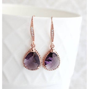 Purple Glass Dangle Earrings - Rose Gold