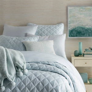 Pine Cone Hill Quilted Silken Solid Robin's Egg Blue Coverlet - Lavender Fields