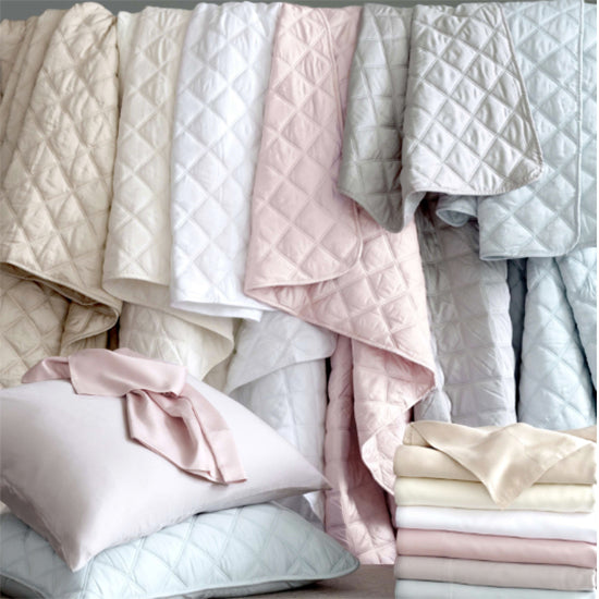 Pine Cone Hill Quilted Silken Solid White Coverlet - Lavender Fields