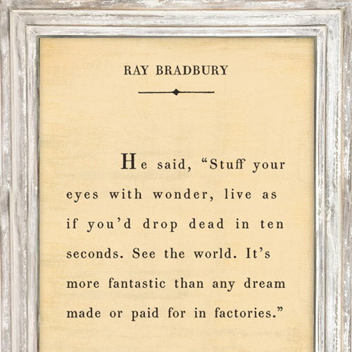Sugarboo Designs Ray Bradbury - Book Collection Sign (White Wash) - Lavender Fields