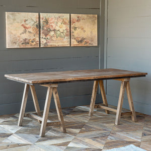 Reclaimed Wood Sawhorse Table - Lavender Fields