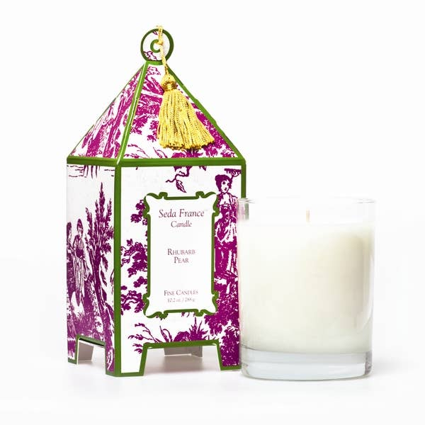 Seda France Rhubarb Pear Classic Toile Pagoda Box Candle - Lavender Fields