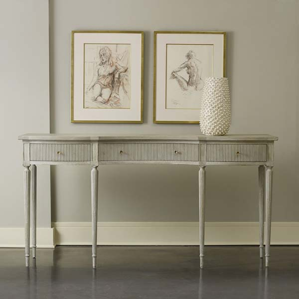 Modern History Ribbed Drawer Console in Antique Grey - Lavender Fields